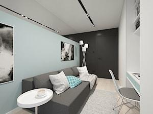 KRAKÓW, BOHATERÓW WRZEŚNIA - MIESZKANIE - Mały biały miętowy czarny pokój dziecka dla dziewczynki dla nastolatka, styl minimalistyczny - zdjęcie od MIRAI STUDIO