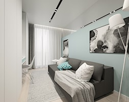 KRAKÓW, BOHATERÓW WRZEŚNIA - MIESZKANIE - Mały biały niebieski pokój dziecka dla chłopca dla dziewczynki dla ucznia dla nastolatka, styl minimalistyczny - zdjęcie od MIRAI STUDIO
