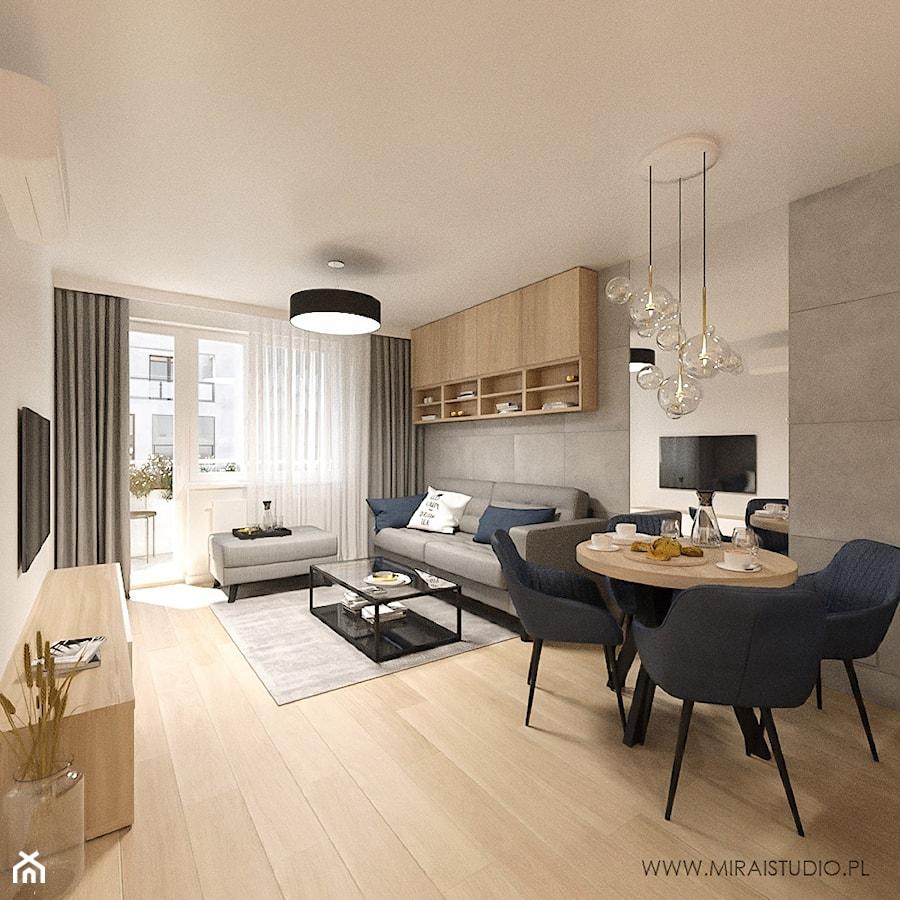 KRAKÓW, REDUTA - MIESZKANIE - Średni szary biały beżowy salon z jadalnią z tarasem / balkonem, styl minimalistyczny - zdjęcie od MIRAI STUDIO