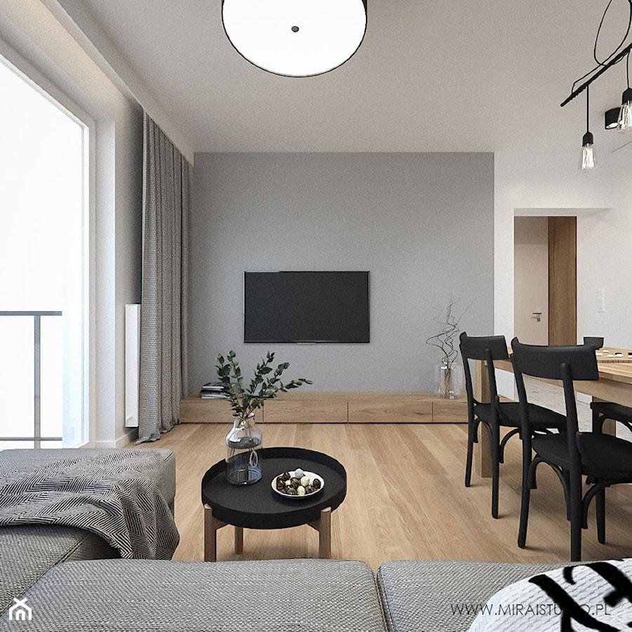 KRAKÓW, WROCŁAWSKA - MIESZKANIE - Średni szary biały salon z jadalnią, styl eklektyczny - zdjęcie od MIRAI STUDIO