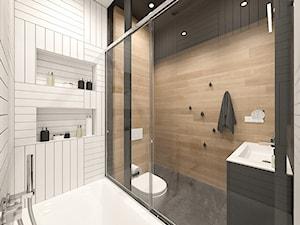 KRAKÓW, ZABŁOCIE, ATAL RESIDENCE - MIESZKANIE - Mała łazienka w bloku w domu jednorodzinnym bez okna, styl minimalistyczny - zdjęcie od MIRAI STUDIO