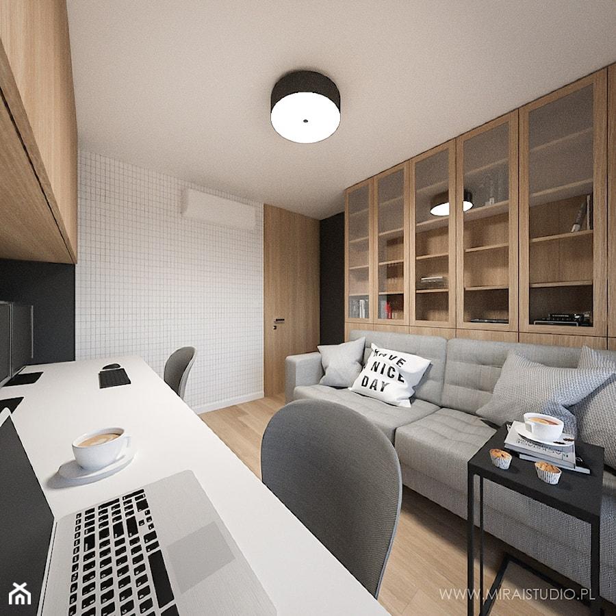 PROJEKT | KRAKÓW, ZABŁOCIE, ATAL RESIDENCE - MIESZKANIE - Małe czarne białe biuro domowe kącik do pracy w pokoju, styl nowoczesny - zdjęcie od MIRAI STUDIO
