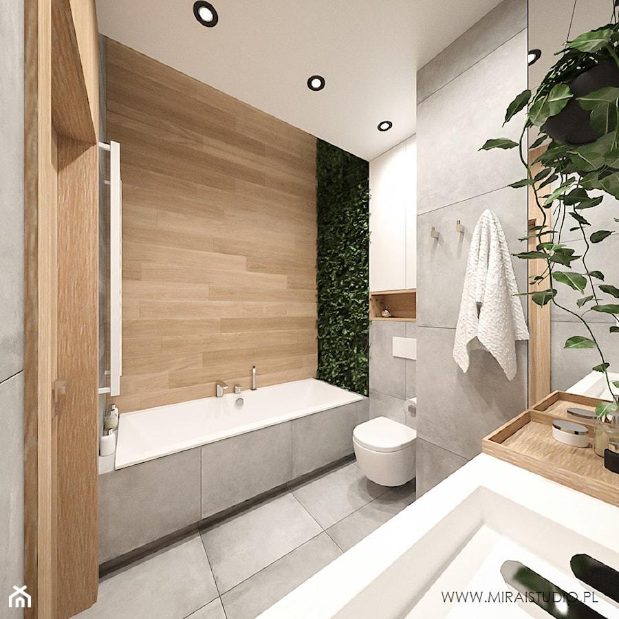 KRAKÓW, ZABŁOCIE, ATAL RESIDENCE - MIESZKANIE - Średnia beżowa szara łazienka w bloku w domu jednorodzinnym bez okna, styl nowoczesny - zdjęcie od MIRAI STUDIO