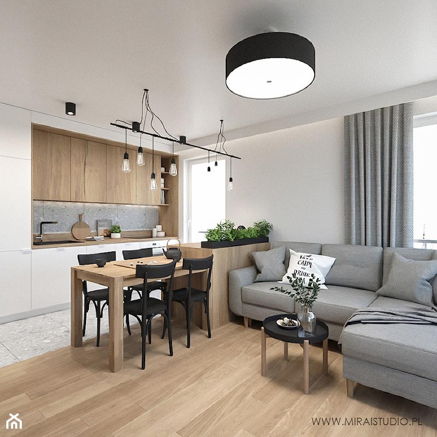 KRAKÓW, WROCŁAWSKA - MIESZKANIE - Mały szary salon z kuchnią z jadalnią, styl eklektyczny - zdjęcie od MIRAI STUDIO