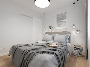 KRAKÓW, WROCŁAWSKA - MIESZKANIE - Mała biała sypialnia małżeńska, styl nowoczesny - zdjęcie od MIRAI STUDIO