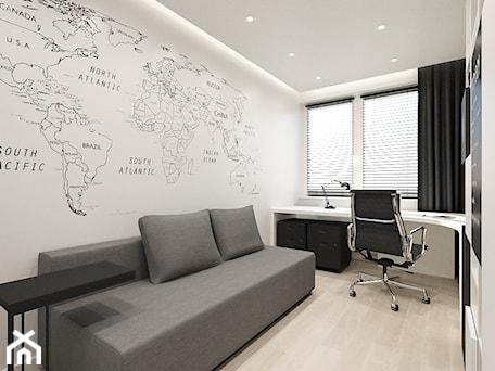 WARSZAWA, NOWAKA-JEZIORAŃSKIEGO - MIESZKANIE - Średnie czarne białe biuro domowe kącik do pracy w pokoju, styl minimalistyczny - zdjęcie od MIRAI STUDIO