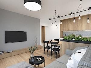 KRAKÓW, WROCŁAWSKA - MIESZKANIE - Średni szary biały salon z kuchnią z jadalnią, styl eklektyczny - zdjęcie od MIRAI STUDIO