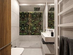 KRAKÓW, WIERZBOWA - MIESZKANIE - Średnia szara łazienka w bloku w domu jednorodzinnym z oknem bez okna, styl industrialny - zdjęcie od MIRAI STUDIO