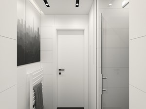 KRAKÓW, BOHATERÓW WRZEŚNIA - MIESZKANIE - Średnia łazienka w bloku w domu jednorodzinnym bez okna, styl minimalistyczny - zdjęcie od MIRAI STUDIO