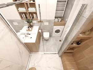 KRAKÓW, WROCŁAWSKA - MIESZKANIE - Mała szara łazienka w bloku w domu jednorodzinnym bez okna, styl nowoczesny - zdjęcie od MIRAI STUDIO