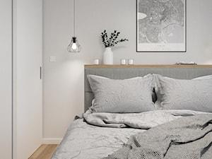 KRAKÓW, WROCŁAWSKA - MIESZKANIE - Mała szara sypialnia małżeńska, styl nowoczesny - zdjęcie od MIRAI STUDIO