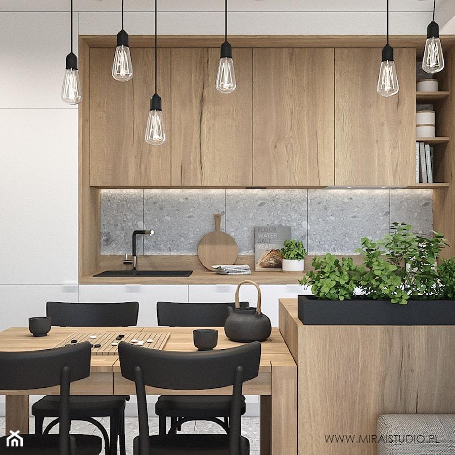 KRAKÓW, WROCŁAWSKA - MIESZKANIE - Średnia otwarta szara kuchnia w kształcie litery g w aneksie, styl eklektyczny - zdjęcie od MIRAI STUDIO