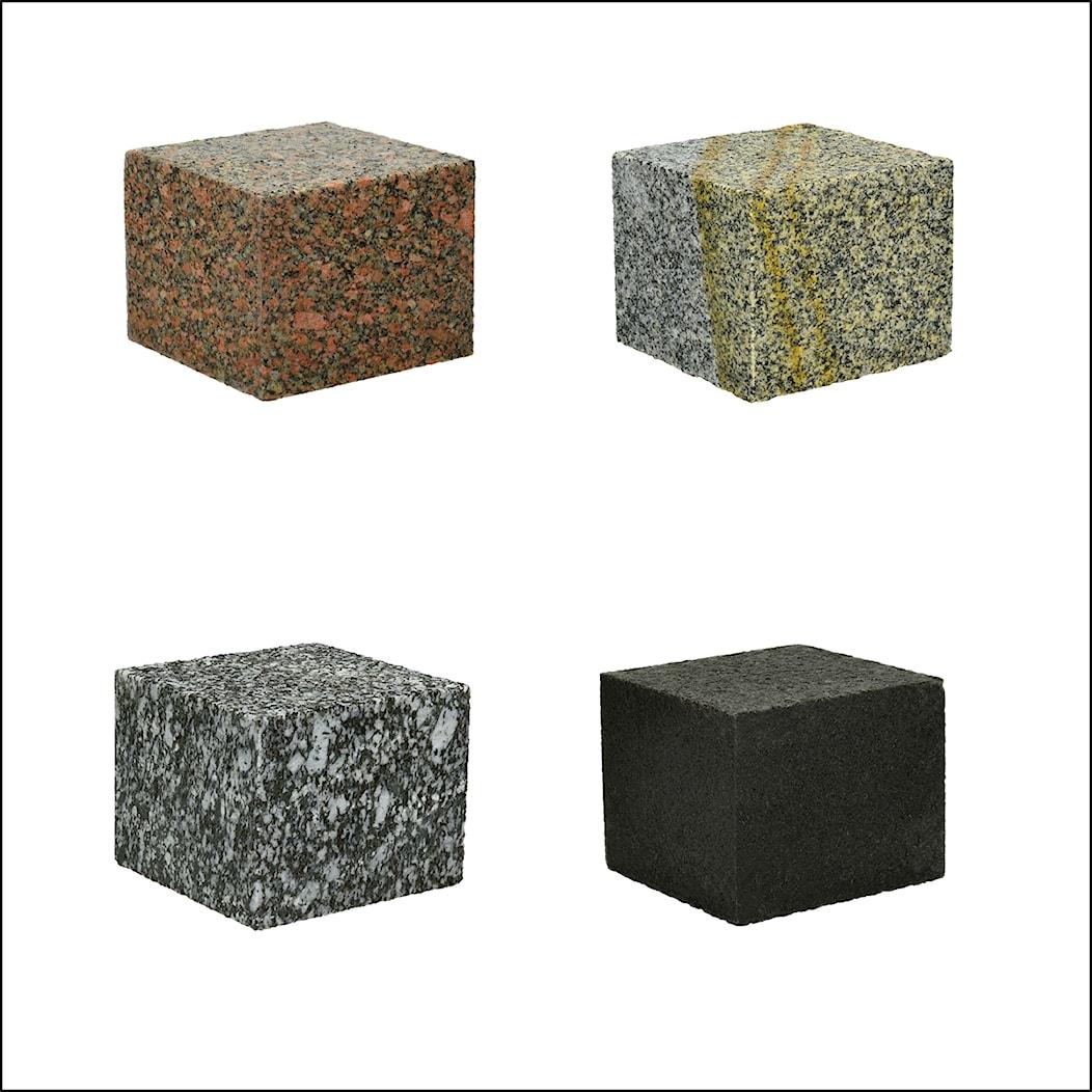 Kostka granitowa czerwona, szaro-żółta, grafitowa i czarna - zdjęcie od Granit Naturalny - Homebook