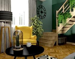 Salon Prażmów - Średni zielony salon z jadalnią, styl eklektyczny - zdjęcie od n.strzyga - Studio projektowania wnętrz - Homebook