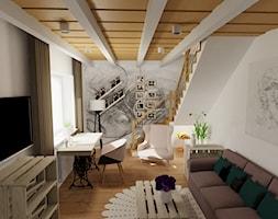 Pokoj dla nastolatki 2 - Średni szary biały salon z antresolą - zdjęcie od radart