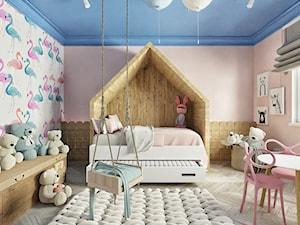 Pokój dla dziewczynki 2 - Duży biały beżowy pokój dziecka dla dziewczynki dla ucznia dla malucha, styl nowoczesny - zdjęcie od Chrobotek Design