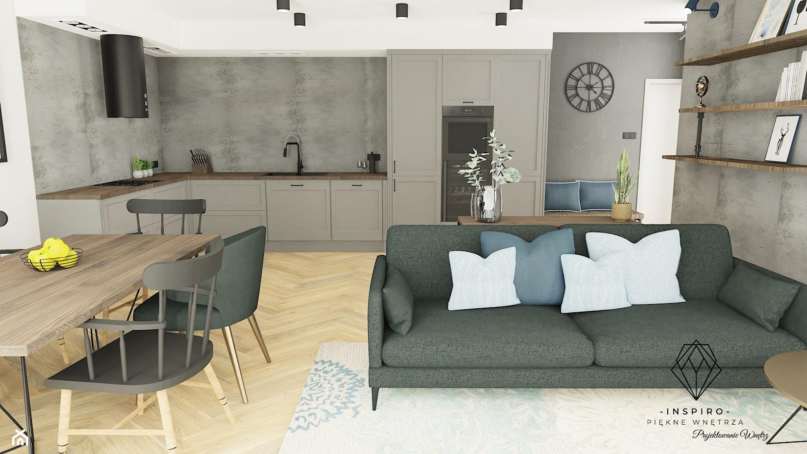 Salon z kuchnią Loft - zdjęcie od INSPIRO Studio Projektowania Wnętrz - Homebook