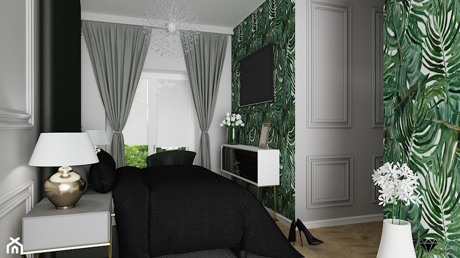 Sypialnia Mała Klasyczna Liście Zdjęcie Od Inspiro
