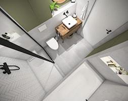 Mieszkanie 80 m2 Kraków - Mała szara zielona łazienka w bloku w domu jednorodzinnym bez okna, styl nowoczesny - zdjęcie od PROSTY UKŁAD - ARCHITEKTURA WNĘTRZ