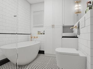 Przytulne mieszkanie w domowym stylu - Średnia biała łazienka w bloku w domu jednorodzinnym bez okna, styl klasyczny - zdjęcie od PROSTY UKŁAD - ARCHITEKTURA WNĘTRZ
