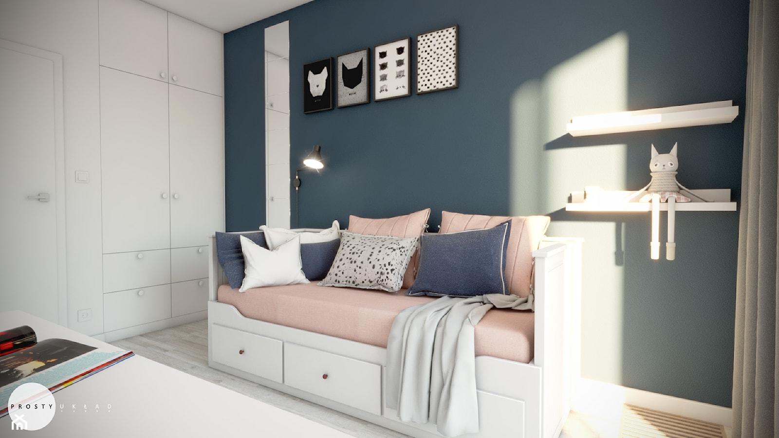 Pokój w bloku dla dziewczynki - Średni biały niebieski pokój dziecka dla dziewczynki dla ucznia dla ... - zdjęcie od PROSTY UKŁAD - ARCHITEKTURA WNĘTRZ - Homebook