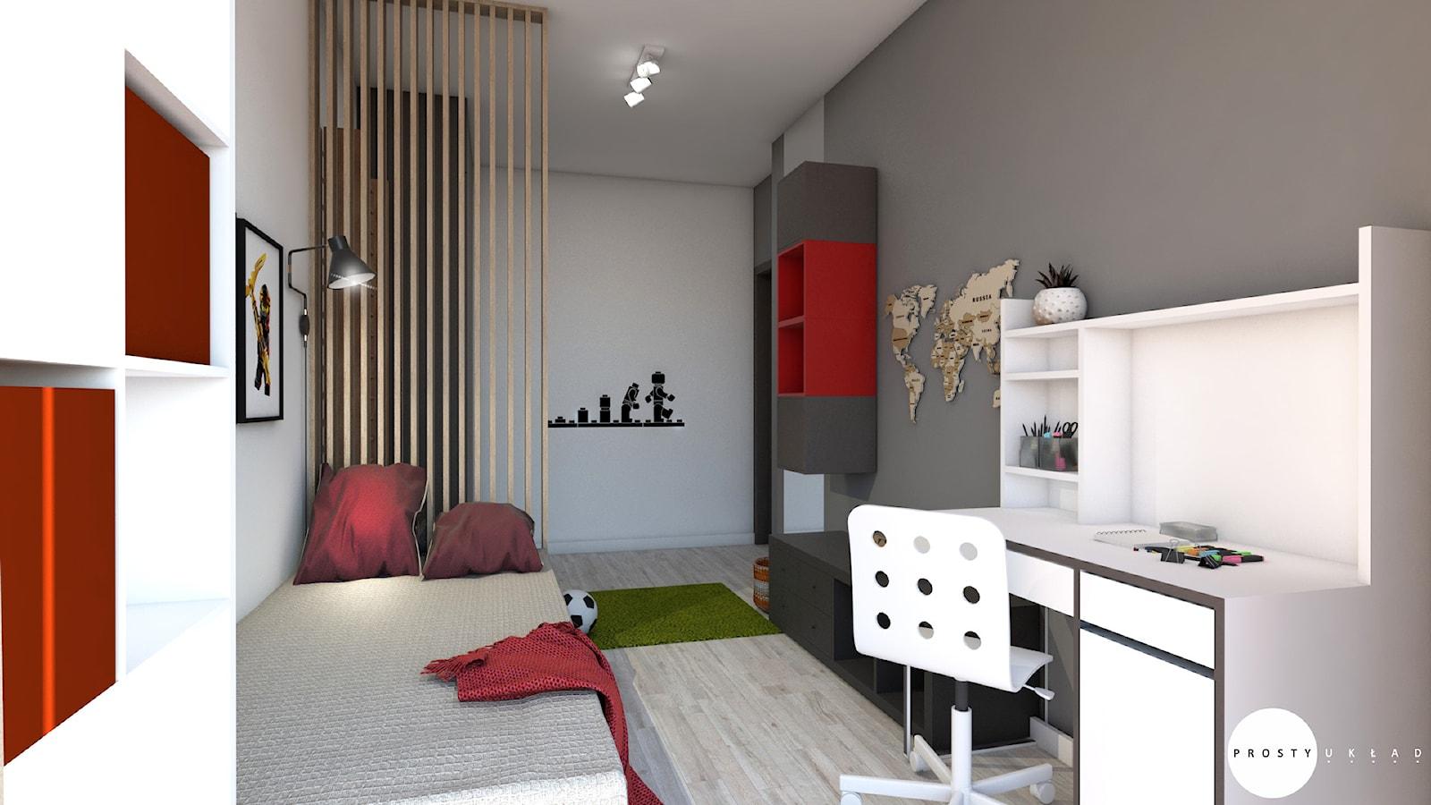 Pokój w bloku dla chłopca - Duży szary pokój dziecka dla chłopca dla dziewczynki dla ucznia dla nastolatka, styl nowoczesny - zdjęcie od PROSTY UKŁAD - ARCHITEKTURA WNĘTRZ - Homebook