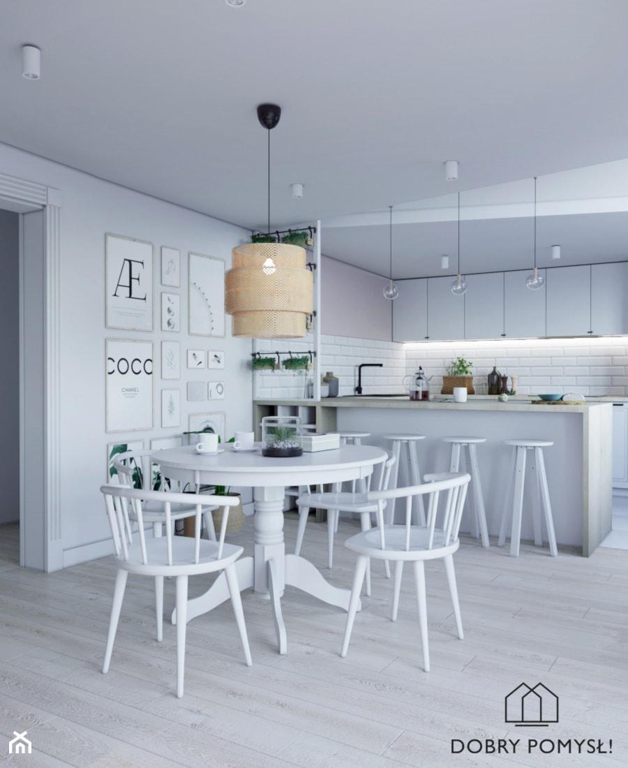 Kuchnia marzeń - Średnia otwarta biała beżowa kuchnia w kształcie litery u w aneksie, styl skandynawski - zdjęcie od StudioDobryPomysł
