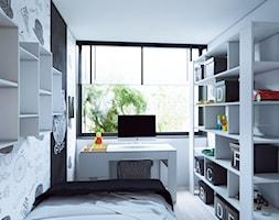 Industrialny szyk ♣️♠️🖤🌸🌿🍀 - Mały biały szary czarny pokój dziecka dla chłopca dla ucznia dla nastolatka, styl skandynawski - zdjęcie od StudioDobryPomysł