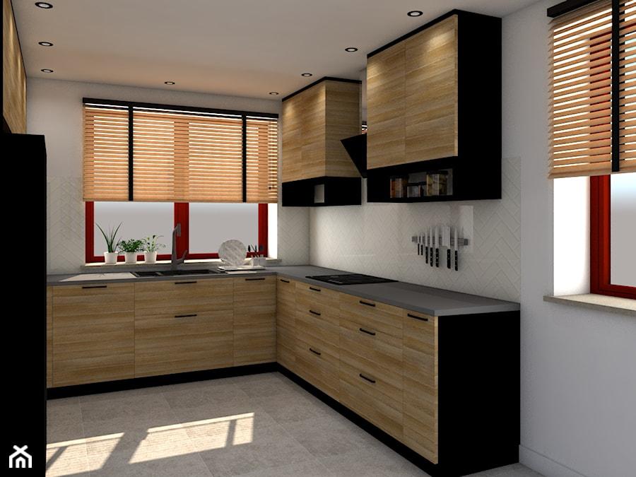 Czarno Drewniana Kuchnia W U średnia Otwarta Biała Beżowa