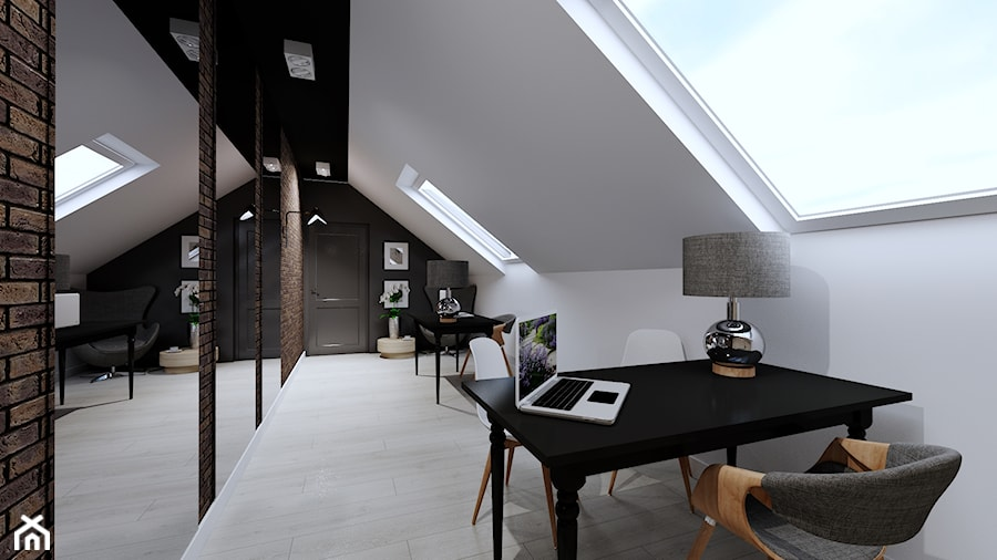 Projekt biura w Pleszewie - Średnie czarne białe biuro domowe na poddaszu w pokoju, styl industrialny - zdjęcie od Interior Koncept Projektowanie Wnetrz
