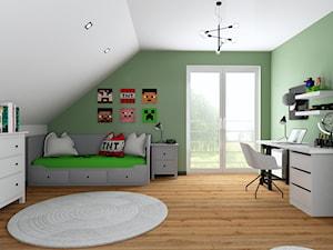 Projekt pokoju ucznia - Duży biały zielony pokój dziecka dla chłopca dla ucznia dla nastolatka, styl tradycyjny - zdjęcie od Interior Koncept Projektowanie Wnetrz