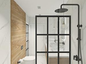 Projekt biura w Pleszewie - Mała szara łazienka w bloku w domu jednorodzinnym bez okna, styl rustykalny - zdjęcie od Interior Koncept Projektowanie Wnetrz
