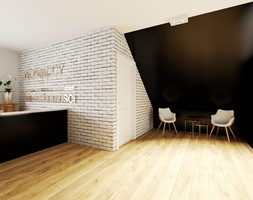 Projekt biura w Pleszewie - Duży biały czarny hol / przedpokój, styl klasyczny - zdjęcie od Interior Koncept Projektowanie Wnetrz