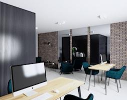 Projekt biura w Pleszewie - Duże czarne brązowe białe biuro pracownia w pokoju, styl industrialny - zdjęcie od Interior Koncept Projektowanie Wnetrz