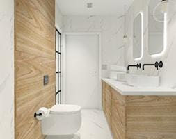 Projekt biura w Pleszewie - Mała biała łazienka w bloku w domu jednorodzinnym bez okna, styl rustykalny - zdjęcie od Interior Koncept Projektowanie Wnetrz