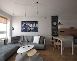 Mały biały salon z kuchnią z jadalnią, styl skandynawski - zdjęcie od STUDIOPROJEKT.RW