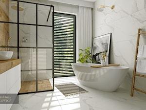 Dębno - projekt dwóch łazienek - Średnia biała łazienka z oknem, styl skandynawski - zdjęcie od ARTchitektura Michalewicz