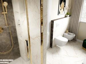 Zielona Góra - wnętrze eleganckiej łazienki - Średnia szara łazienka w bloku w domu jednorodzinnym z oknem, styl glamour - zdjęcie od ARTchitektura Michalewicz