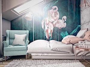 Zielona Góra - wnętrze pokoju nastolatki - Średni szary niebieski pokój dziecka dla dziewczynki dla nastolatka, styl nowoczesny - zdjęcie od ARTchitektura Michalewicz