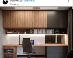 Średnie szare białe biuro domowe kącik do pracy w pokoju - zdjęcie od natt_98