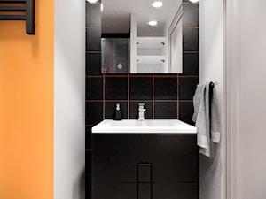 """BLACK & YELLOW   Konkurs """"MINImum powierzchni, MAXImum funkcjonalności"""" - Mała czarna szara łazienka w bloku w domu jednorodzinnym bez okna, styl nowoczesny - zdjęcie od WOJTYCZKA Pracownia Projektowa"""