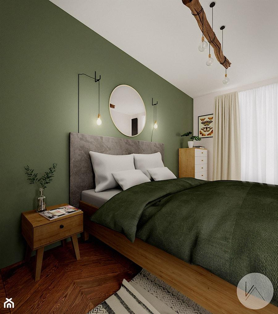 Oliwkowa sypialnia z charakterem - zdjęcie od WOJTYCZKA Pracownia Projektowa