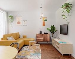 Boho, retro i coś jeszcze - Mały biały salon z jadalnią, styl vintage - zdjęcie od WOJTYCZKA Pracownia Projektowa