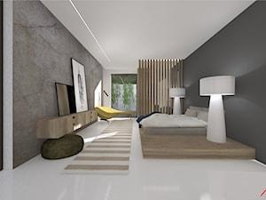 Sypialnia drewno i beton - zdjęcie od ASdesign