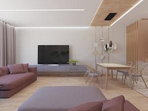 Terrazzo w ciepłych kolorach - Duży biały salon z jadalnią, styl nowoczesny - zdjęcie od Trzy Namioty