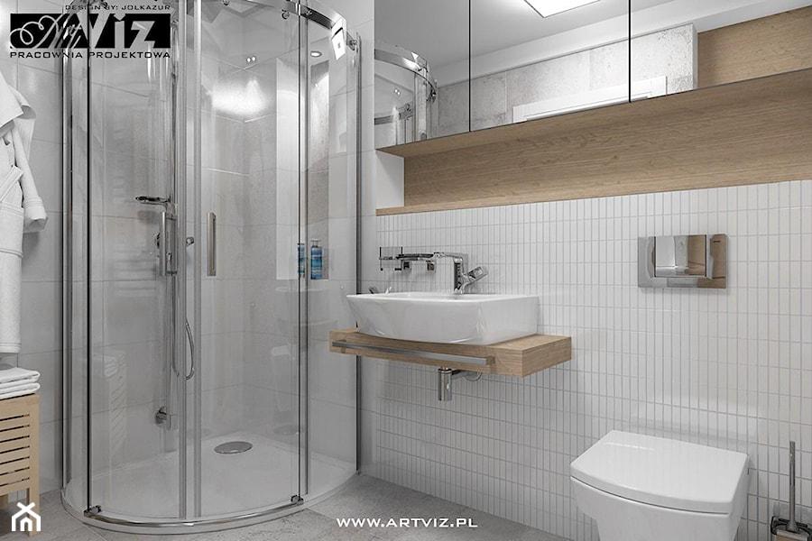 Łazienka - płytki białe + betonowe - zdjęcie od ARTVIZ Pracownia Projektowa