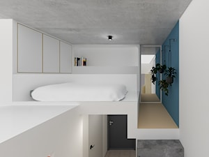 Mikro mieszkanie we Wrocławiu / 25m2+antresola - Średnia biała niebieska sypialnia małżeńska na poddaszu, styl minimalistyczny - zdjęcie od Martyna Sprengel