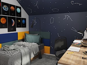 Kosmiczny pokój nastolatka - Mały szary czarny pokój dziecka dla chłopca dla ucznia dla nastolatka, styl nowoczesny - zdjęcie od IZZY PROJEKT Iza Jaworska