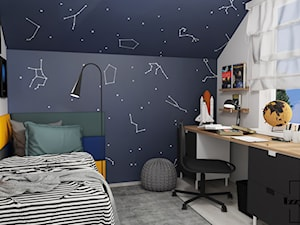 Kosmiczny pokój nastolatka - Mały biały czarny pokój dziecka dla chłopca dla dziewczynki dla ucznia dla malucha dla nastolatka, styl nowoczesny - zdjęcie od IZZY PROJEKT Iza Jaworska