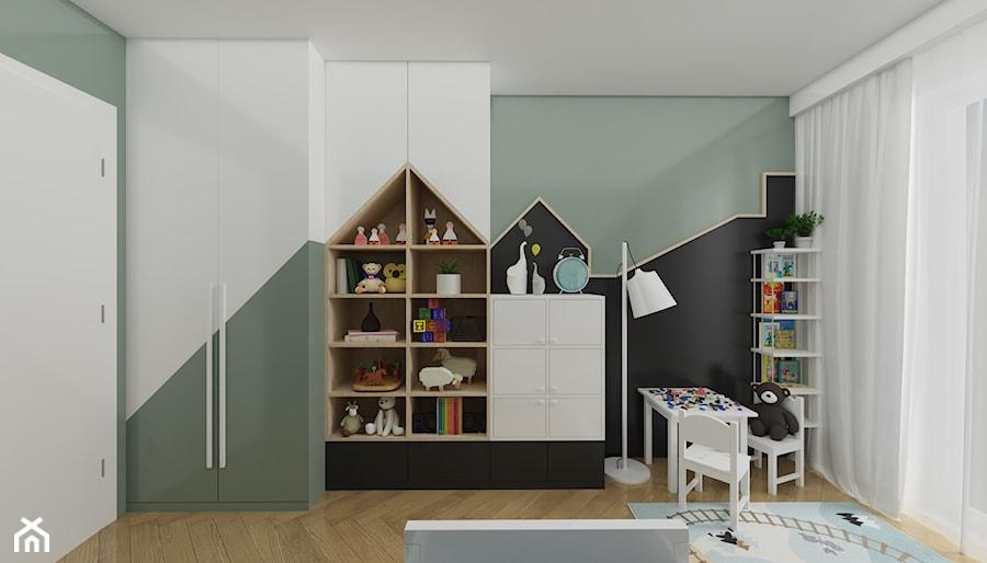 SŁONECZNE MIESZKANIE - Średni zielony czarny pokój dziecka dla chłopca dla dziewczynki dla ucznia dla malucha, styl nowoczesny - zdjęcie od ARCHITEKTURA I WNĘTRZA